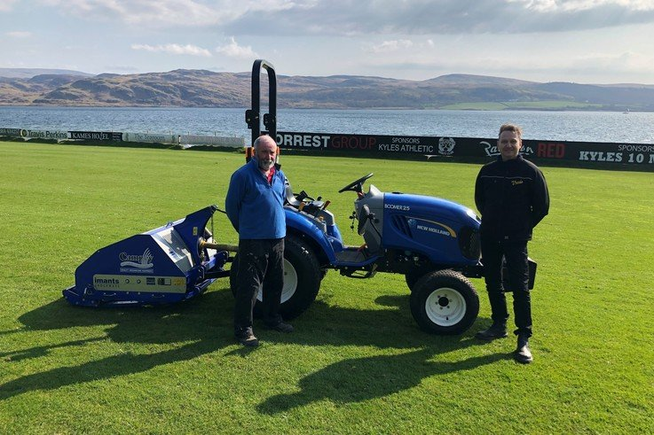 Kyles Athletic Groundsman Tom Whyte And Campey Product Specialist Richard Heywood