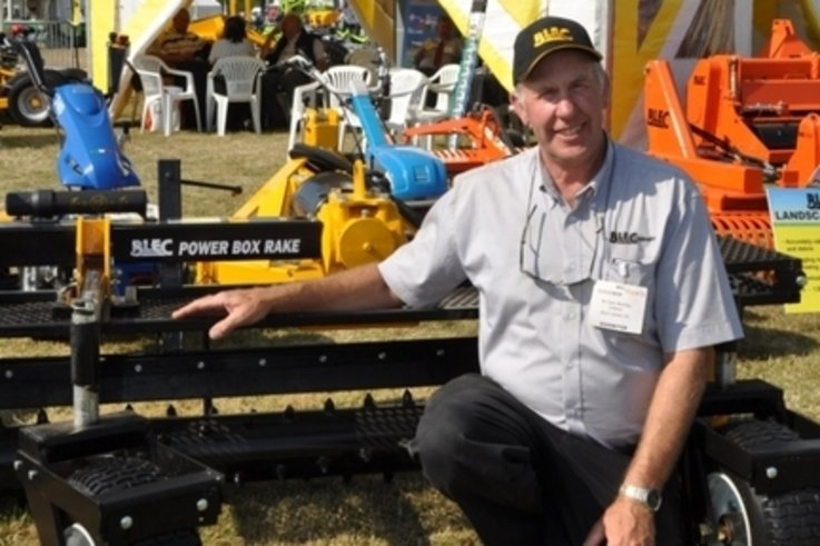 BLEC Global\\\'s Gary Mumby with the new Power Box Rake at Saltex 2013. www.blec.co.uk  DSC 0748