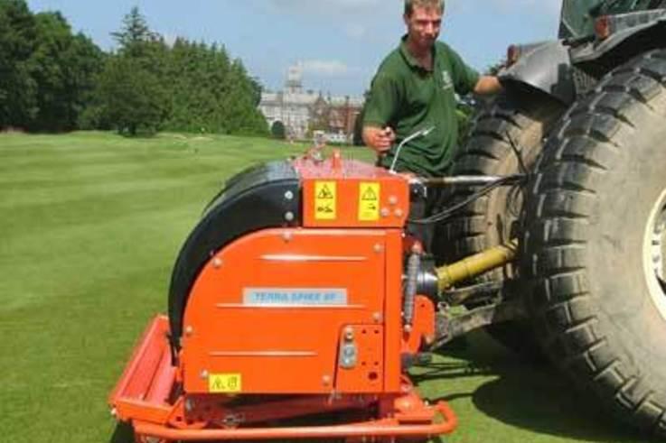 Deep aerator continues successful drainage regime at Adare Manor Golf Resort.