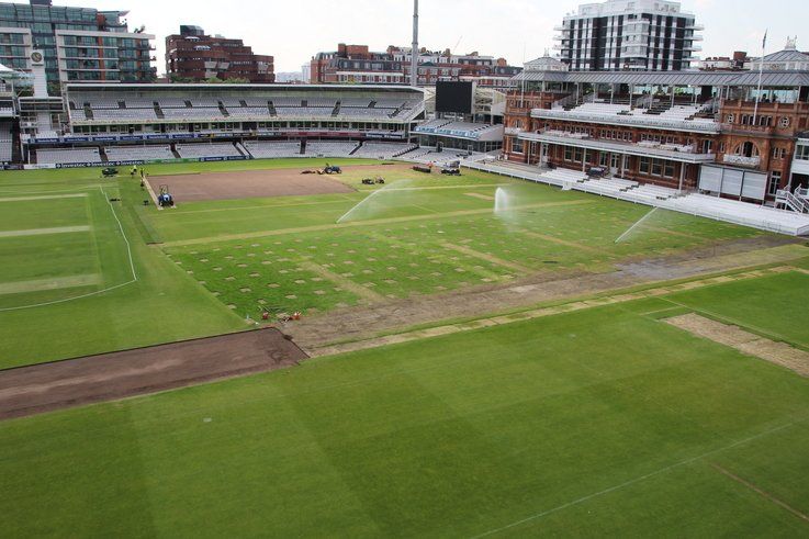 Lord\'s outfield post Olympics turf replacement 2