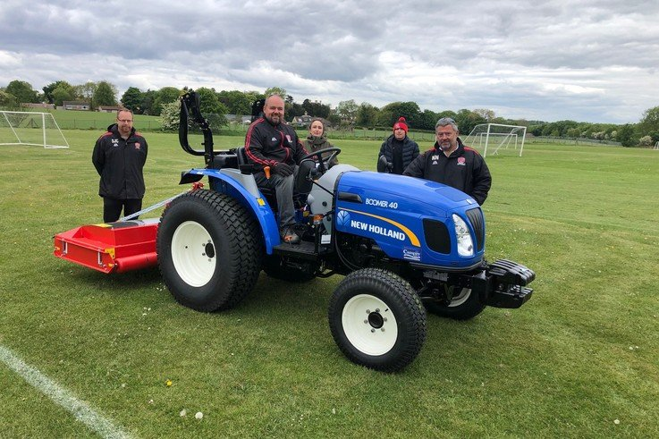 Kiveton Town FC with Gordon Johnson on the New Holland tractor.jpg