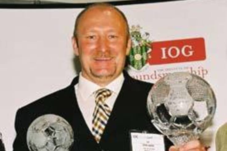Celtic's John Hayes celebrates Scottish Groundsman of the Year Award