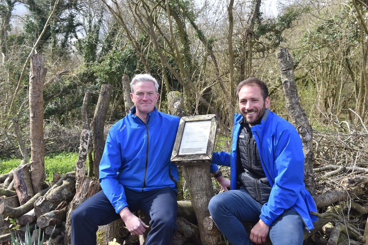 Iestyn Carpenter And Duncan Brown With With Corhampton Information Boards