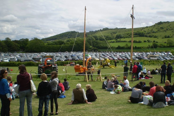 visitors on front lawns watching a Forestry display, Plumpton College.
