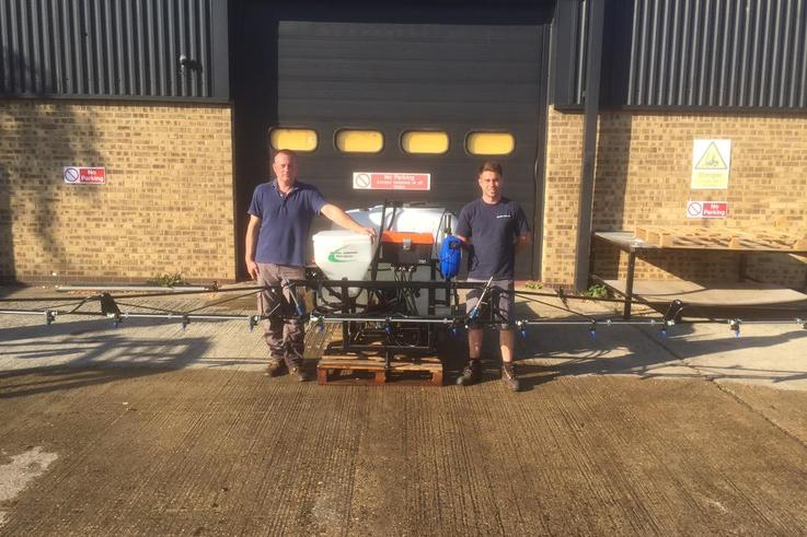 The Martin Lishman NSTS testing team next to a Tractor Mounted Sprayer