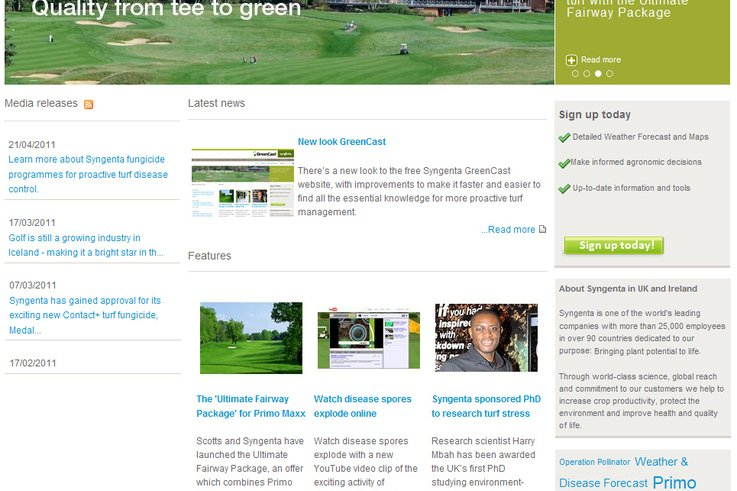 New look GreenCast frontpage