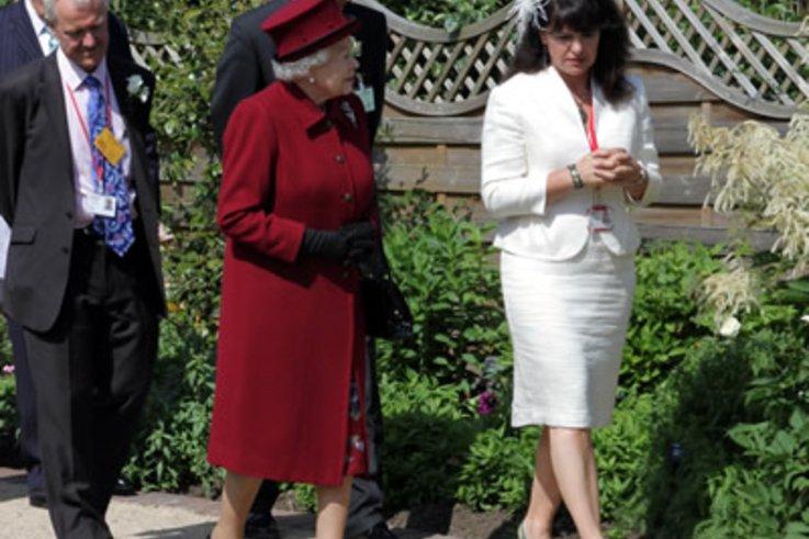 HM The Queen in The Queen Mother Centenary Garden, Capel Manor.jpg
