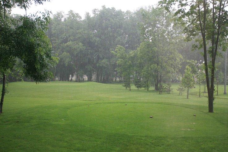 Golf course rainy weather