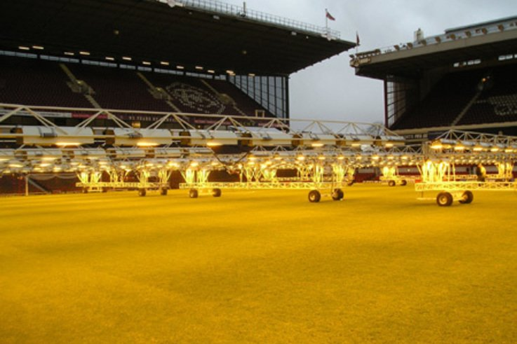 Lights keep grass pitches in summer condition in depths of winter