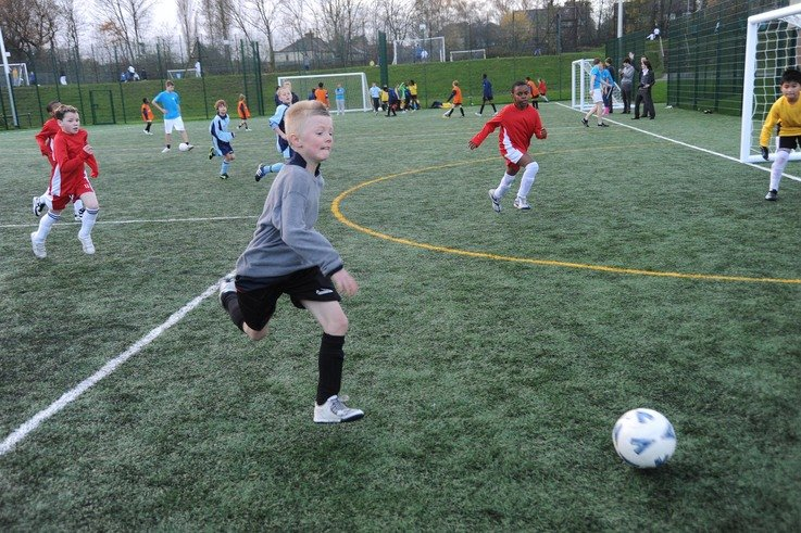 Pupils at Woodbridge High School make the most of their new football facility.jpg
