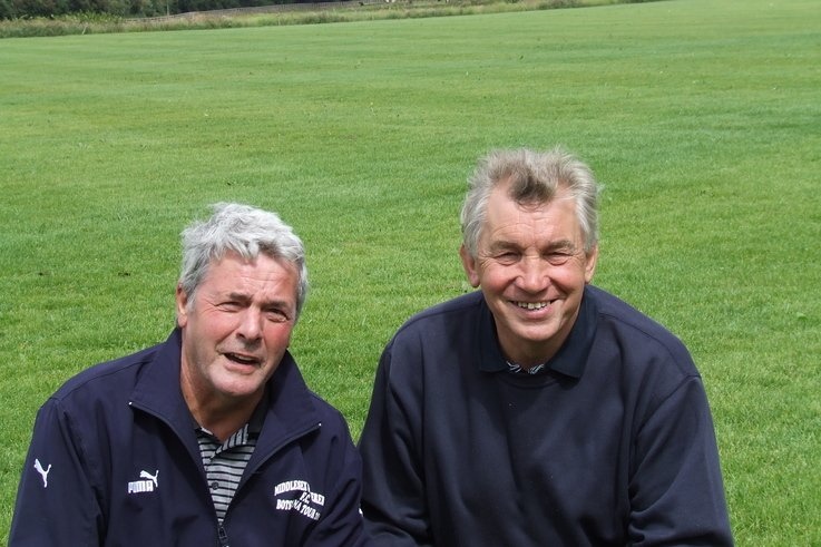 Grassform Ltd. - Tony Perkins (left) and Tommy South are delighted with Thurrock FC\'s new training facility at Aveley.JPG
