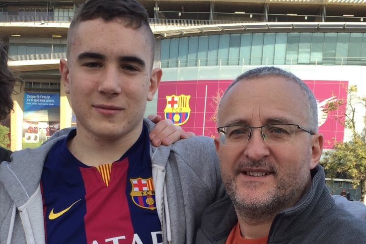 Nigel and Lewis in Barcelona to watch a match with Atlético Madrid the week before he began chemo in February