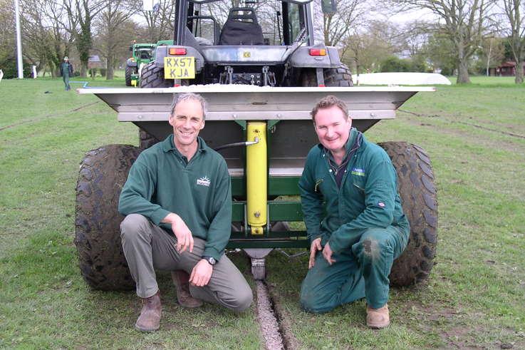 Bretton King and Richard Clark with the Shelton 3 tonne fast flow hopper