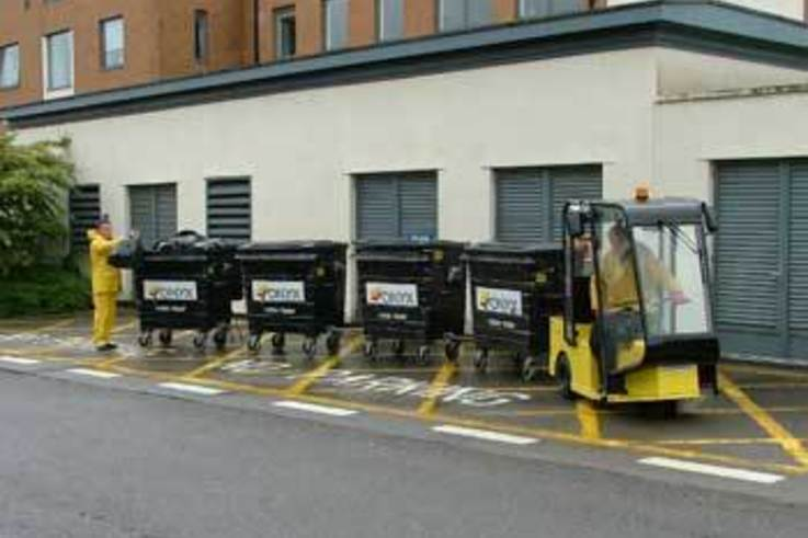 Electrical vehicle moves waste at Princess of Wales Hospital