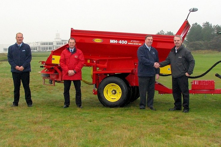 Specialist topdresser goes to work at Open Championship Venue