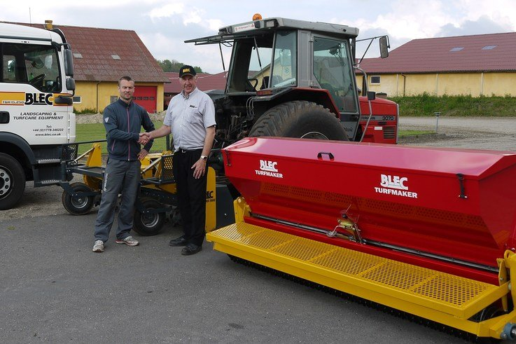 The BLEC Turfmaker Seeder delivered to Jeppe Hansen (left) of Volstrup Golf Club and Turfgrowers by Gary Mumby, md of BLEC Global P1080083