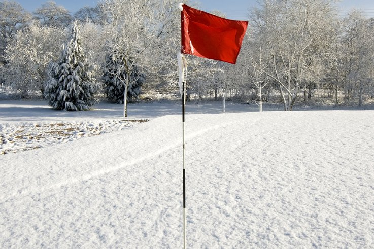 Golf flag in snow