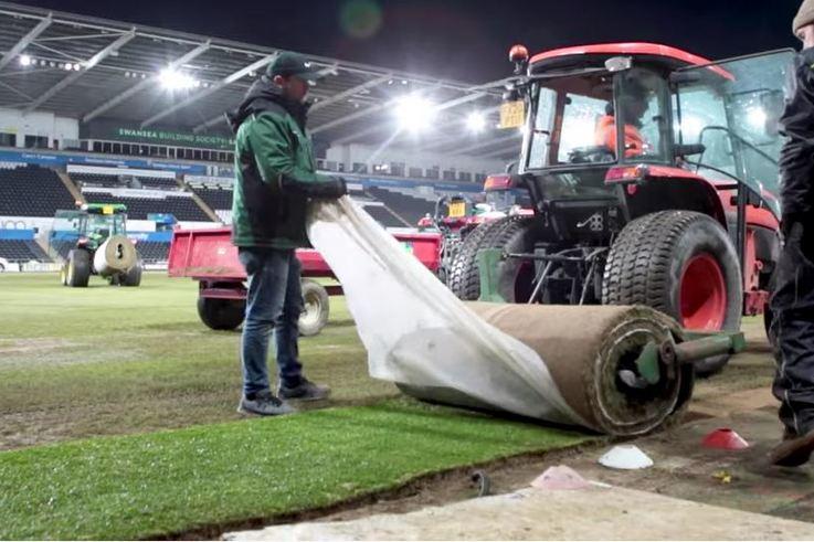 Swansea City hybrid pitch installation.JPG