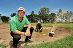 Golf pro Craig Swift and head greenkeeper Sean Stuchbery have been working hard to get the Bundaberg Golf Club back to a playable condition.