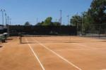 red porous tennis court