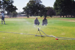 Cowra Golf Club secretary manager Ray Watmore & course superintendent Toby Lowe are thankful the course will receive donated water in time for the 4-day Easter Classic extravaganza beginning Friday.