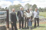 Celebrating the official opening of a water improvement project at the Armidale Golf Course are (from left) course superintendent Warren Lawler, mayor Peter Ducat, Emily Ingram from the National Parks and Wildlife Service with her children Randal and Buck