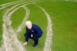 Club employee Mark Carew surveys the damage caused by vandals at Morack Golf Course.