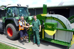 Ed Gilbert contracts manager at Shelton hands over the latest Supertrencher+ 760 to Aaron Hutton of Turftech New Zealand