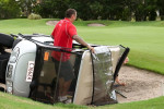 Mat Rogers surveys the wreckage after his buggy crashed