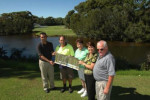 Narooma Golf Course golf pro Colin Holmes, course superintendent Richard Goodridge, club president Leone Whelan, general manager Colleen Kirby and club captain Peter Jones with the eig