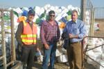Wakefield Regional Council Works Services Officer Glen Growden, Brinkworth farmer Darren Krieg and AgStewardship Australia Independent Chair Lauchlan McIntosh at the 200,000 milestone presentation.