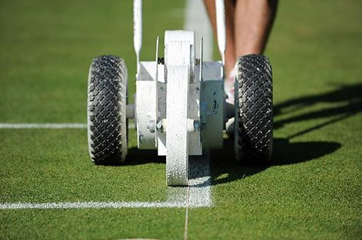 Lawn tennis court line marking