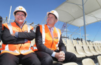 Prime Minister John Key visits the new stadium being constructed at Rugby League Park