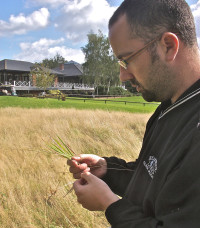 Daniel Lightfoot with target oarse grasses at Bearwood Lakes
