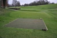 A Speedcut installed Huxley mat artificial tee and a raised turf tee at Chislehurst Golf Club DSC 0644