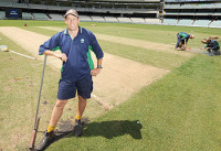 New MCG curator Cameron Hodgkins hard at work ahead of the Boxing Day Test. Picture: George Salpigtidis