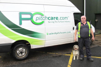 Dylan next to Pitchcare's Delivery Driver Jon Jones.