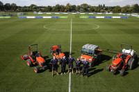 Members of the groundcare team with the Kubota kit at the Hogwood Park training ground