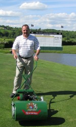 Jim McKenzie Director of Golf Celtic Manor with 1950s Ransomes Auto Certes.JPG