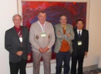 Past, present and future ITS presidents. From left to right: Bruce Clarke from the USA (President-Elect), Bill Adams from Wales (President 2001-2005), Carol Müller from Chile (President 2005-2009) and Han Liebao from  China (President 2009-2013).