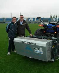 Paul Burgess Head Groundsman Real Madrid, David Harrison Export Sales Manager Campey Turf Care.JPG