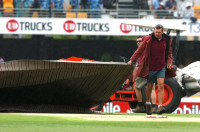 Groundstaff at work at the Gabba