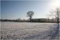 Abandoned football pitch due to snow cover