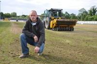 Richard Ede on his Tooting and Mitcham FC pitch with the BLEC Multivator