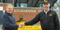 Hugh Murray and Gary Mumby with the Rotor Rake at Kilmarnock FC