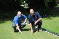 James Stewart of Huxley Golf left with Kevin Whately at Avin
