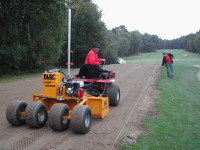 BLEC laser grader in action with Speedcut Contractors renovating a tee at Foxhills Golf Club and Resort in Surrey