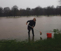 Ladies Captain jayne Jones Failing To Stop The Flow Of Water LOL