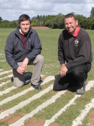Kevin Smith, Speedcut contracts manager, left, and Clive Pring, head groundsman at Exeter City FC on the training ground.JPG