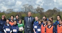 Sir Trevor Brooking at the opening of Worthing Town FC\'s new training pitches